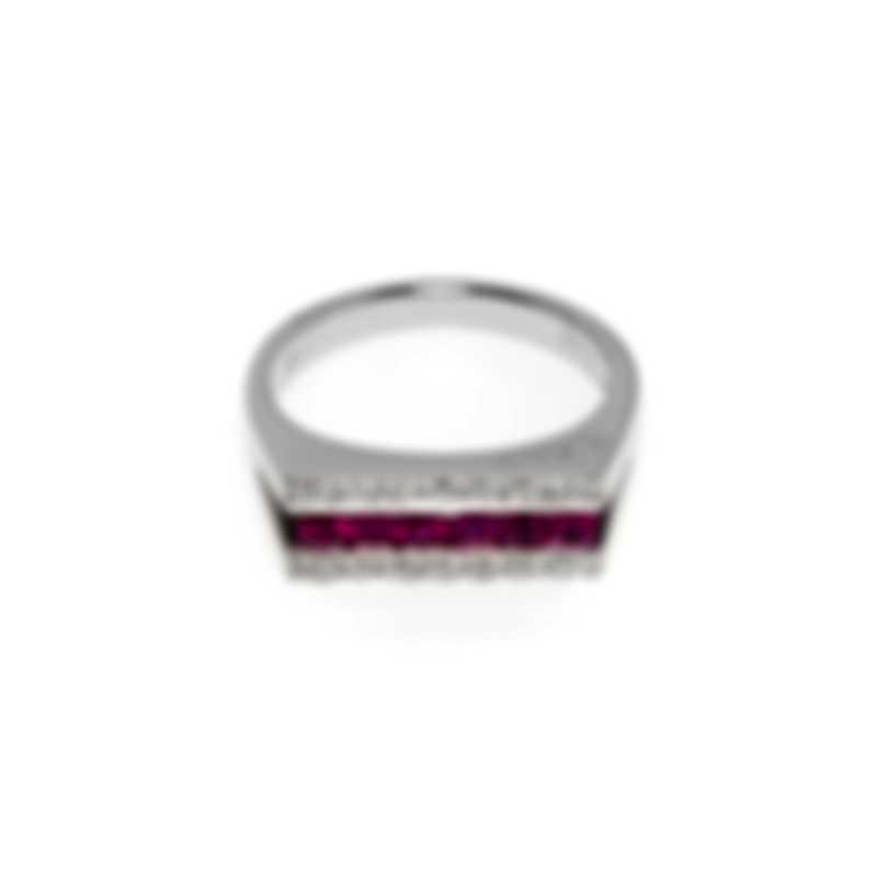 Salvini Mostrine 18k White Gold Diamond 0.11ct And Ruby Ring Sz 7 20007332