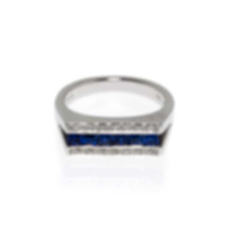 Salvini Mostrine 18k White Gold Diamond 0.11ct And Sapphire Ring Sz 7.5 20007333