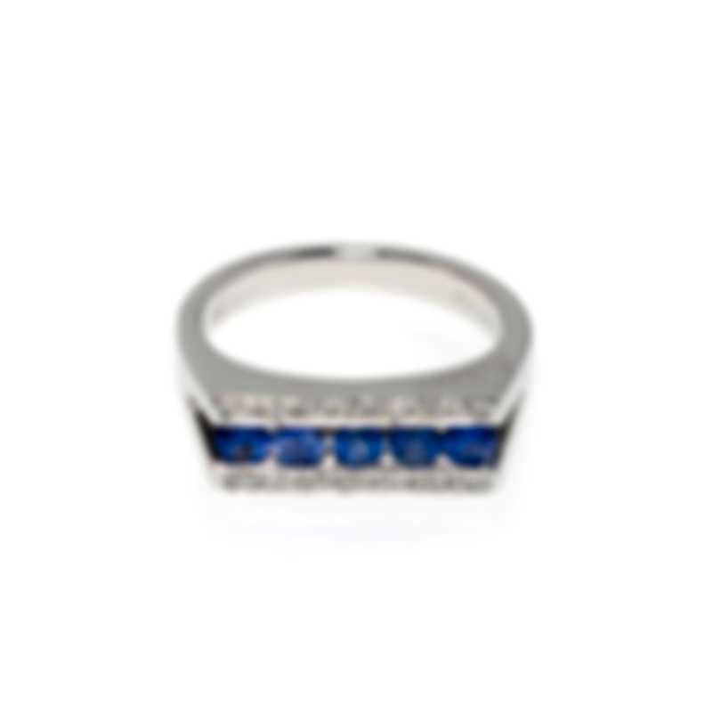 Salvini Mostrine 18k White Gold Diamond 0.12ct And Sapphire Ring Sz 7 20007336