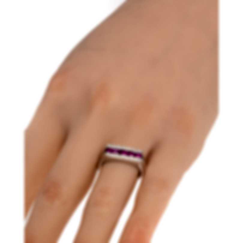 Salvini Mostrine 18k White Gold Diamond 0.11ct And Ruby Ring Sz 7 20007338
