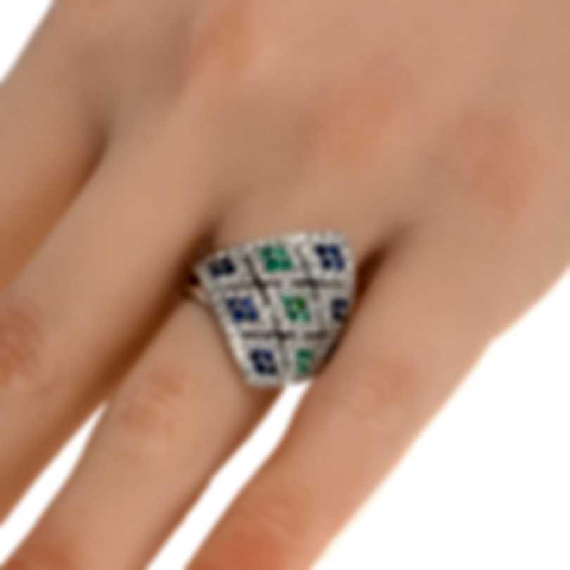 Salvini Agadir 18k White Gold Diamond 0.56ct And Sapphire Ring Sz 5.5 20013592