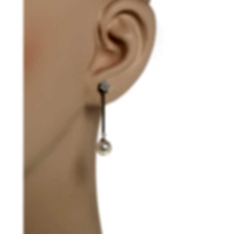 Salvini Rosette Perla 18k White Gold Diamond 0.16ct And Pearl Earrings 20015561