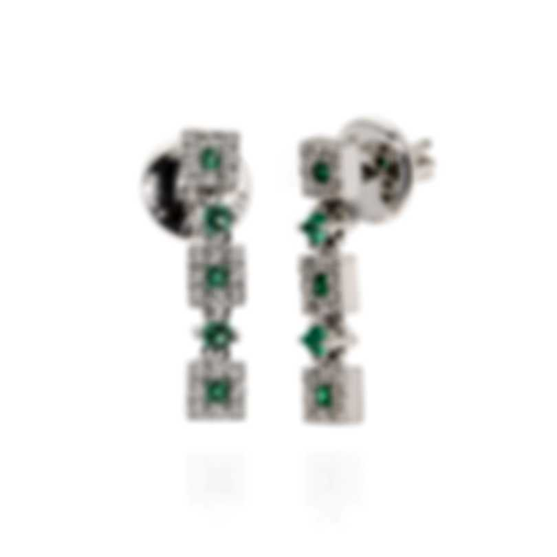 Salvini Feeling 18k White Gold Diamond 0.31ct And Emerald Earrings 20019293