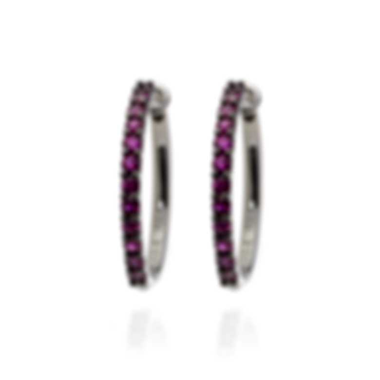 Salvini By Damiani Firefly 18k White Gold And Ruby Hoop Earrings 20042170