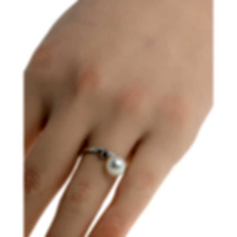 Salvini Cipria 18k White Gold Black Diamond 0.06ct & Pearl Ring Sz 7.25 20042373