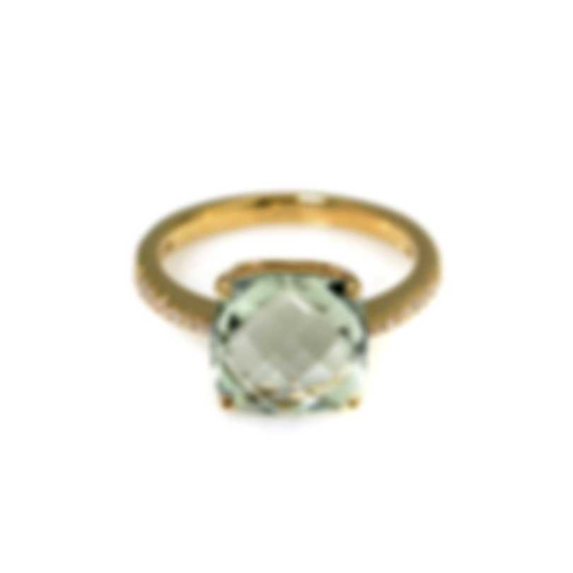 Salvini Trilly 18k Yellow Gold Diamond 0.12ct And Quartz Ring Sz 7 20043764