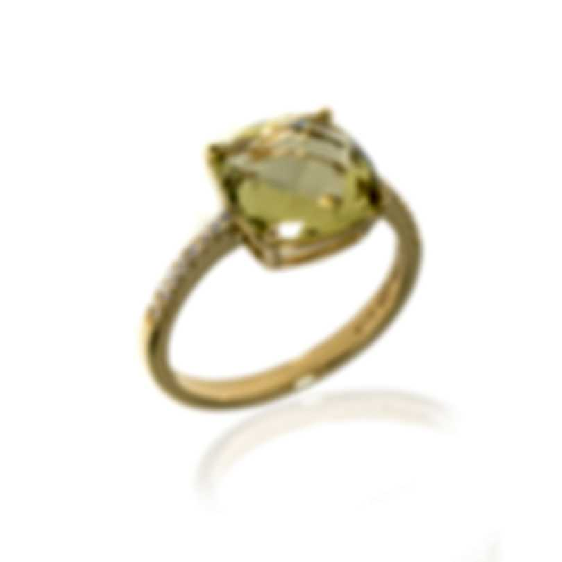 Salvini Trilly 18k Yellow Gold Diamond 0.12ct And Quartz Ring Sz 7.5 20043765