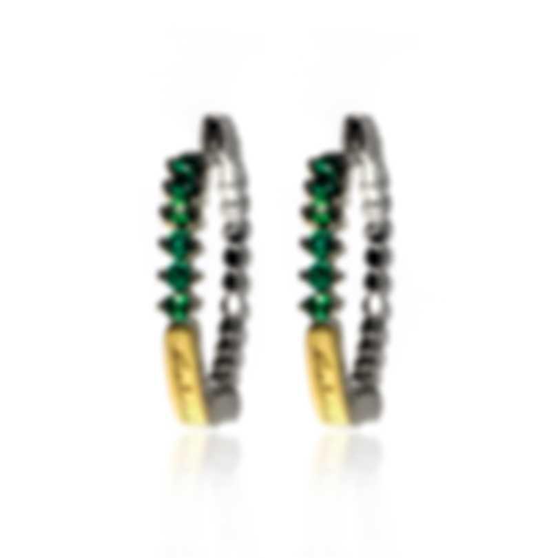 Salvini Logo Salvini 18k White & Yellow Gold & Emerald Earrings 20043841