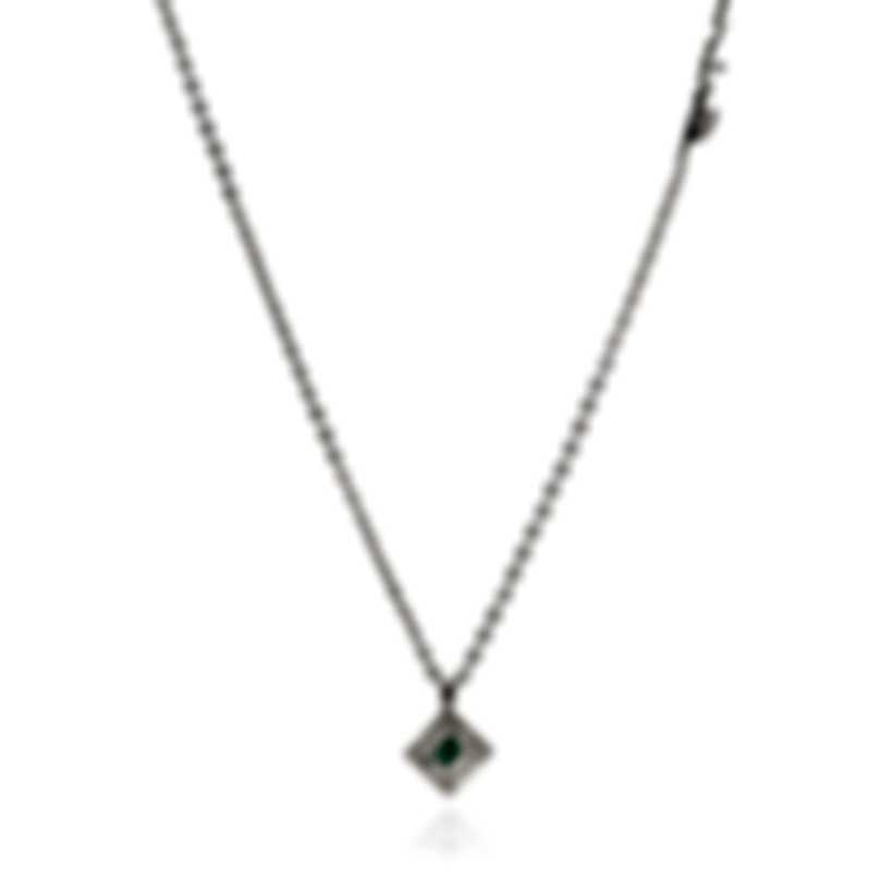 Salvini Kira 18k White Gold Diamond 0.03ct And Emerald Necklace 20055850