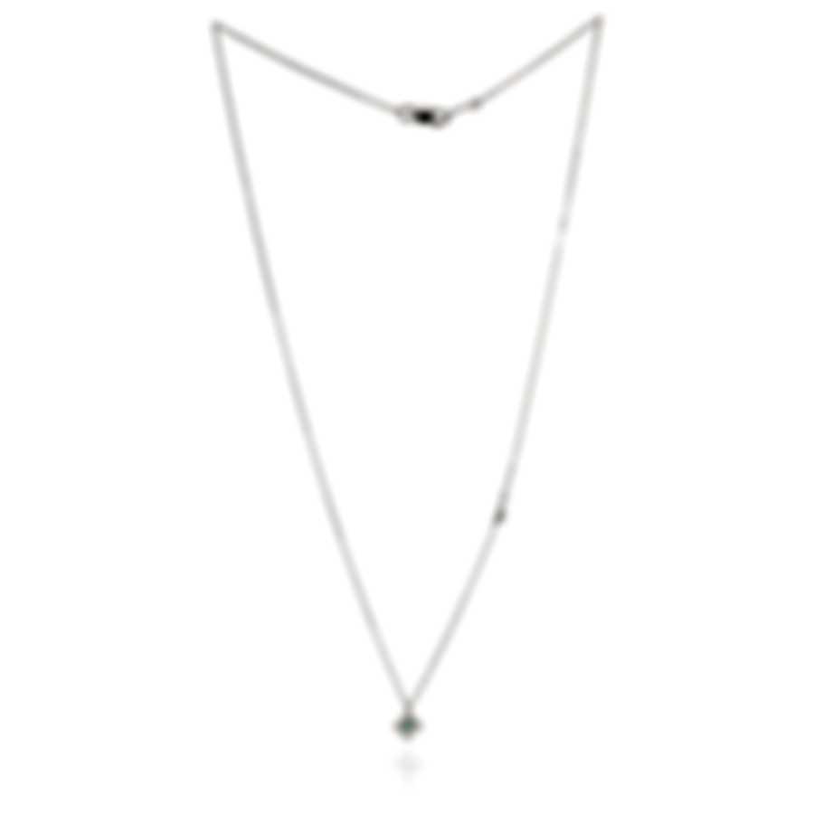 Salvini Kira 18k White Gold Diamond 0.03ct And Emerald Necklace 20055850