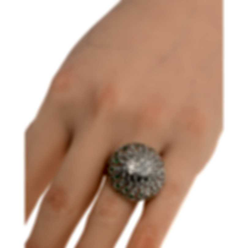 Salvini Chignon 18k White Gold Diamond 0.42ct & Green Sapphire Ring Sz7 20060509