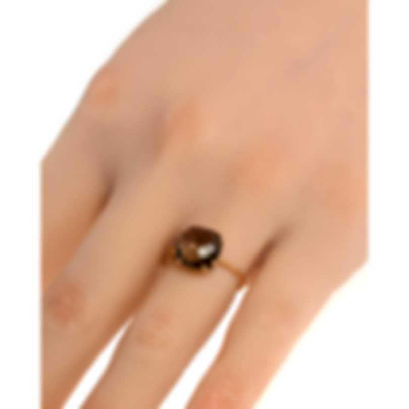 Salvini Santa Fe 18k Rose Gold Diamond 0.01ct & Quartz Fume Ring Sz 6.5 20067312