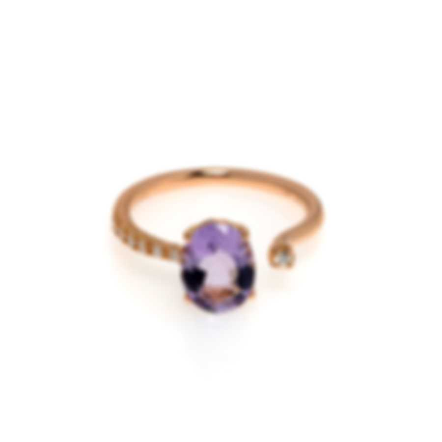 Salvini Taormina 18k Rose Gold Diamond 0.08ct And Amethyst Ring Sz 6.25 20068871
