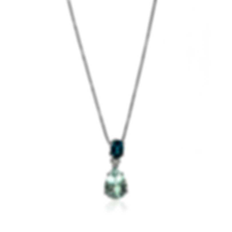 Salvini Panarea 18k White Gold Diamond 0.06ct And Aquamarine Necklace 20068879