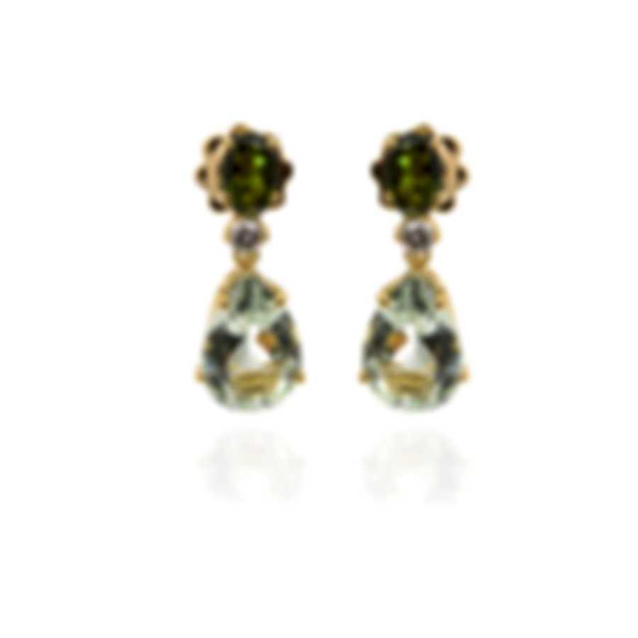 Salvini By Damiani Panarea S 18k Yellow Gold Diamond 0.12ct And Prasiolite Earrings 20068881