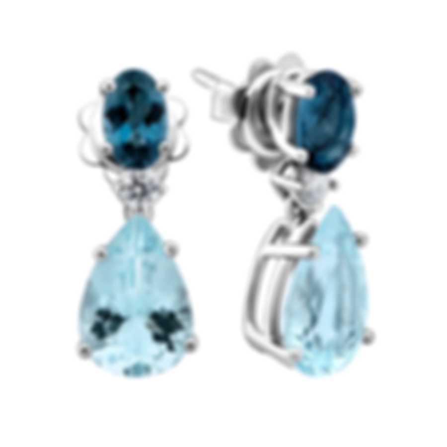 Salvini By Damiani Panarea S 18k White Gold Diamond 0.12ct And Aquamarine Earrings 20068883