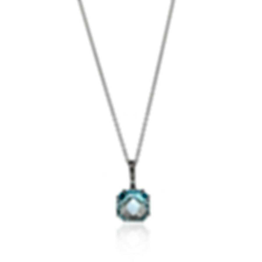 Salvini Santa Fe 18k White Gold Diamond 0.01ct And Blue Topaz Necklace 20068927