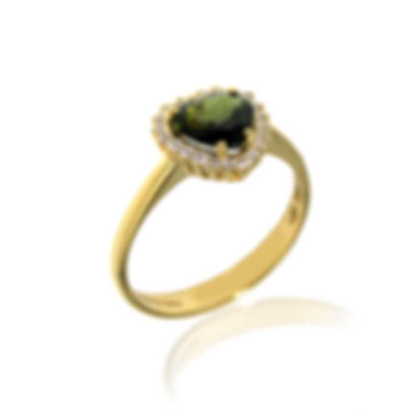Salvini Sorrento 18k Yellow Gold Diamond 0.18ct Prasiolite Ring Sz 6.5 20073579