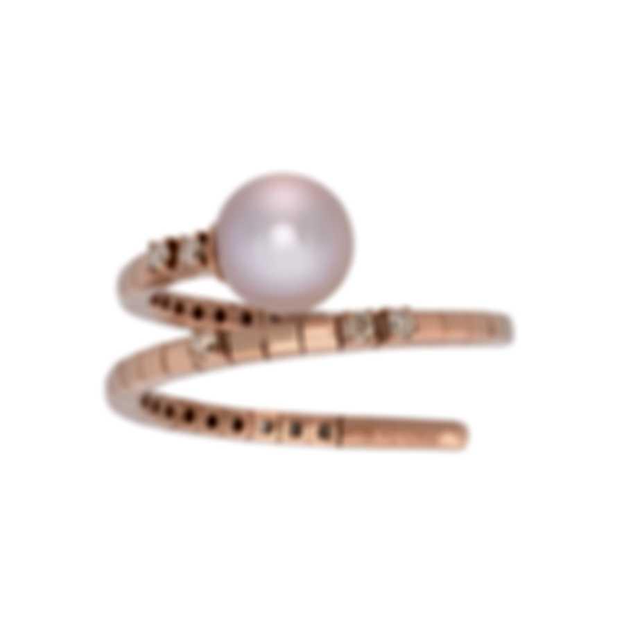 Salvini Precious Loop 18k Rose Gold Diamond 0.07ct & Pearl Ring Sz 7.25 20075266