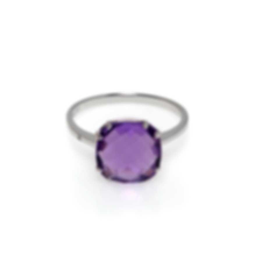 Salvini Santa Fe 18k White Gold Diamond 0.01ct And Amethyst Ring Sz 7 20076150