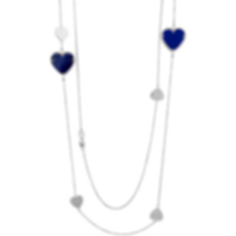 Salvini I Segni 18k White Gold Diamond 0.01ct And Lapis Necklace 20081486