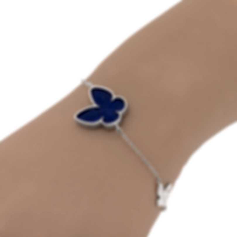 Salvini I Segni 18k White Gold Diamond 0.01ct And Lapis Bracelet 20081487