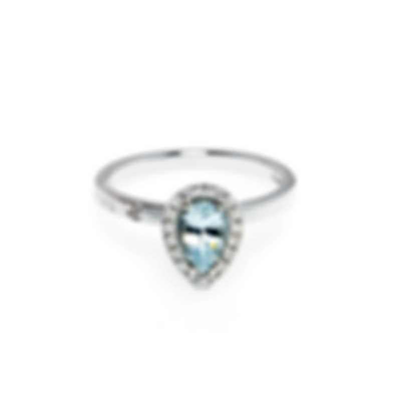 Salvini Sorrento 18k White Gold Diamond 0.13ct & Aquamarine Ring Sz6.25 20086529