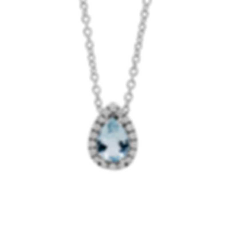 Salvini Sorrento 18k White Gold Diamond 0.13ct And Aquamarine Necklace 20086532