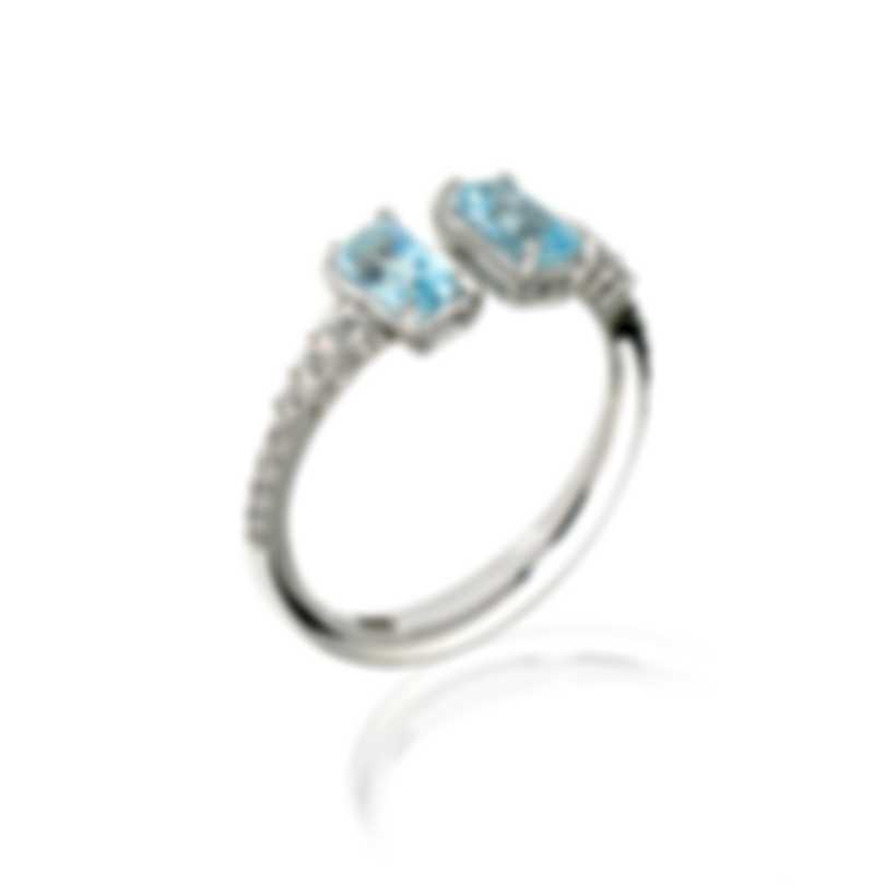 Salvini Pantelleria 18k White Gold Diamond 0.23ct Aquamarine Ring Sz7.5 81074727