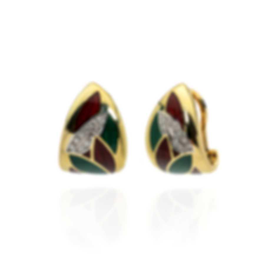 Salvini 18k Yellow Gold And Enamel Diamond(0.15ct Twd.)Earrings SOF00945