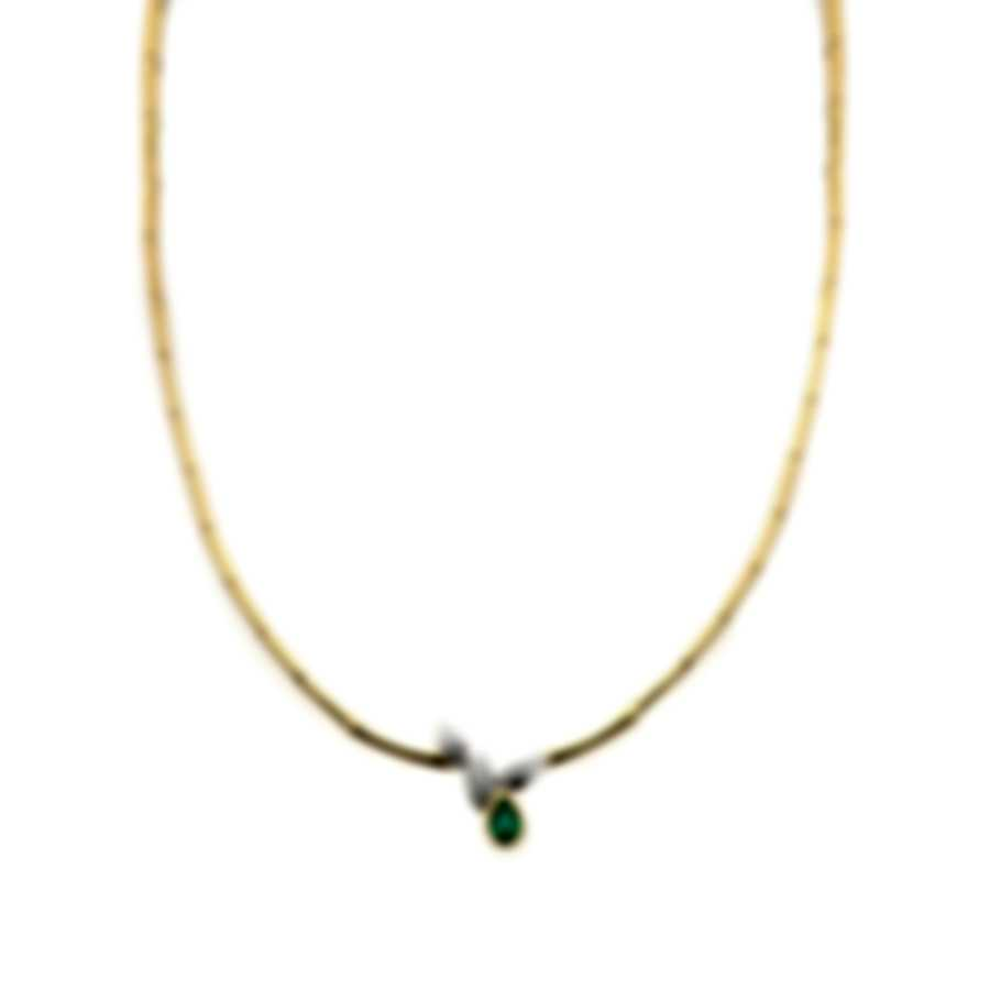Salvini 18k Yellow And White Gold Diamond(0.15ct Twd) Emerald Necklace SCS00689
