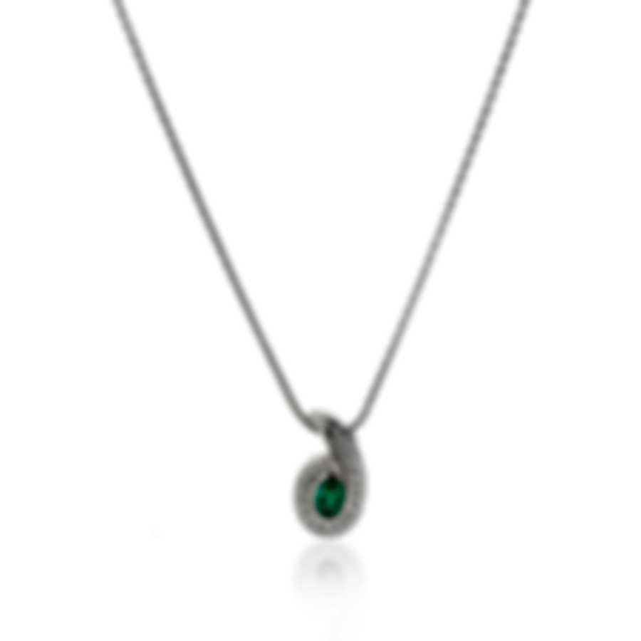 Salvini 18k White Gold Diamond(0.29ct Twd.)and Emerald Necklace SCS00836
