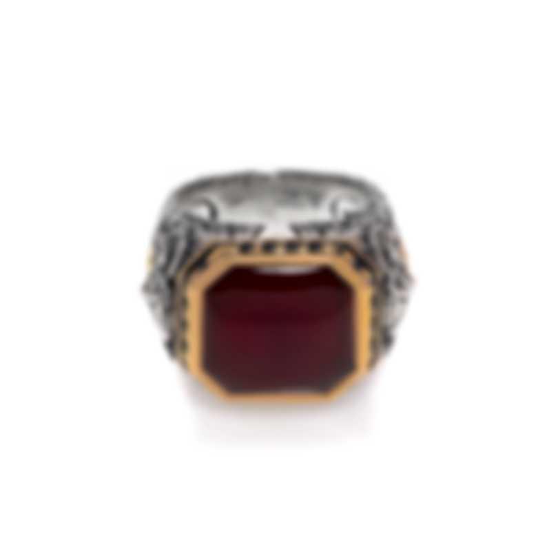 Stephen Webster London Calling Sterling Silver & 18k Gold & Red Agate Ring Sz 10