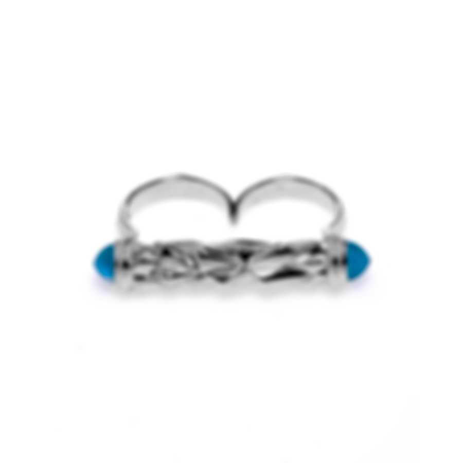 Stephen Webster Superstud Sterling Silver & Cat's Eye Cabochons Ring Sz 7 SR0341-1