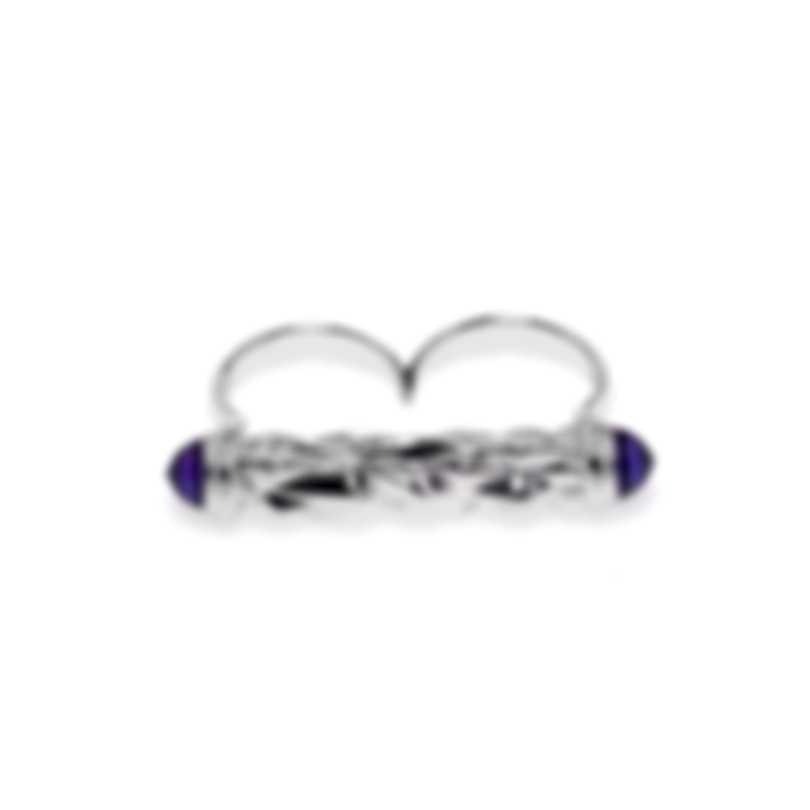 Stephen Webster Superstud Sterling Silver Cat's Eye Cabochons Ring Sz 8 SR0341-1