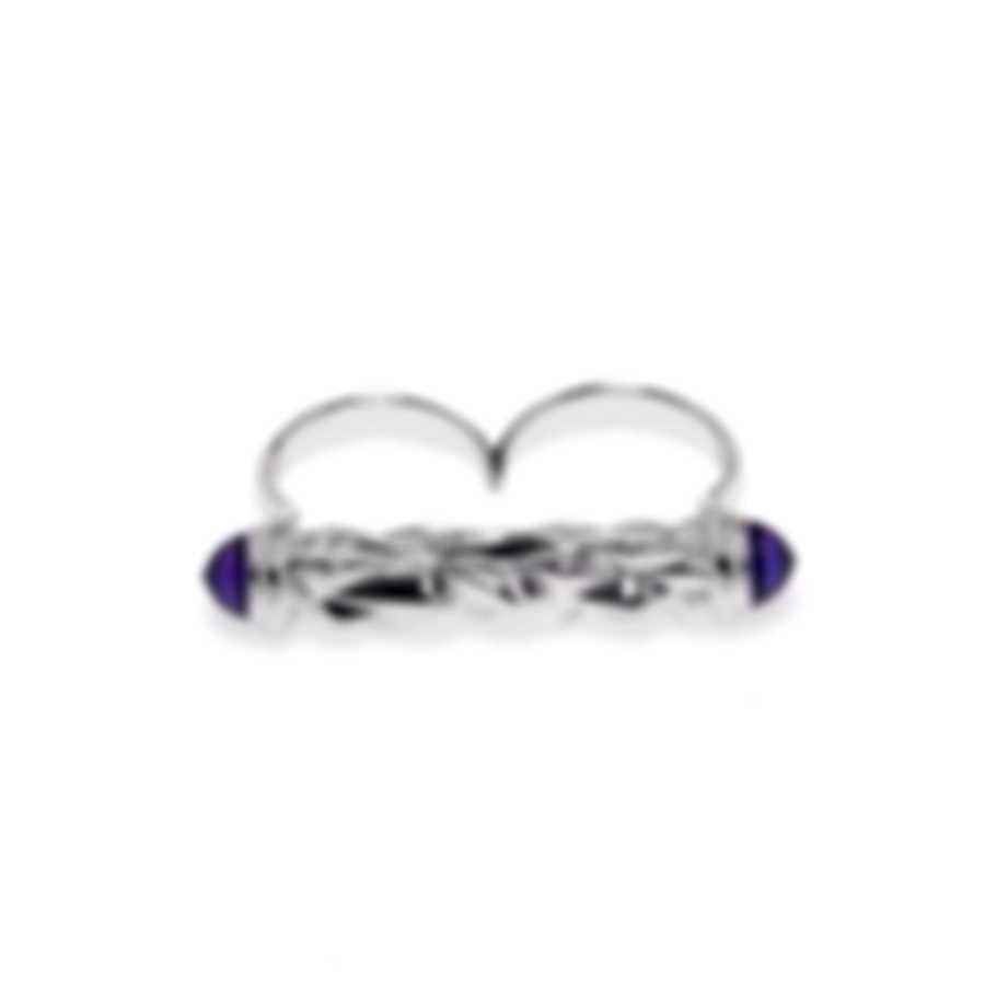 Stephen Webster Superstud Sterling Silver Cat's Eye Cabochons Ring Sz 6 SR0341-2
