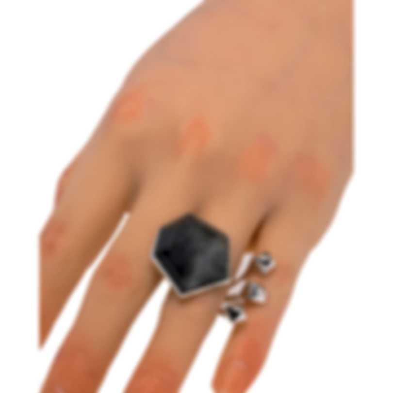 Stephen Webster Superstud Sterling Silver & Cat's Eye Crystal Haze Ring Sz 8 SR0