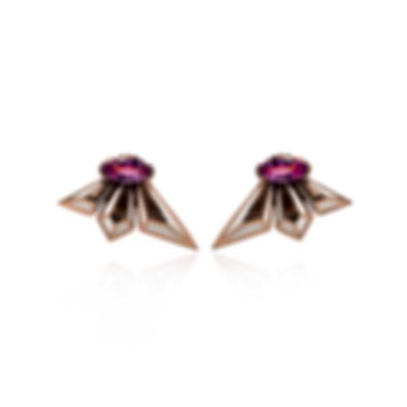 Stephen Webster Fly By Deco 18k Rose Gold & Enamel & Sapphire Earrings WE1021