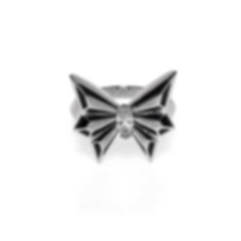 Stephen Webster Fly By Night 18k White Gold & Enamel Diamond Ring Sz 7 WR1077