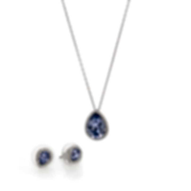 Swarovski Laina Rhodium Plated Crystal Necklace And Earring Set 5347548