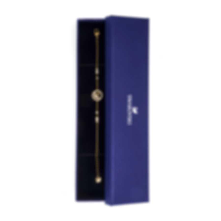 Swarovski Leather Swan Gold Tone And White Cubic Zirconia Bracelet 5376481