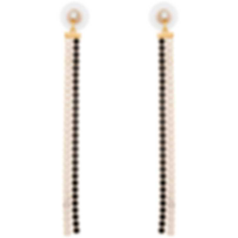 Swarovski Gold Plated Black And White Crystal Dangle Earrings 5403217