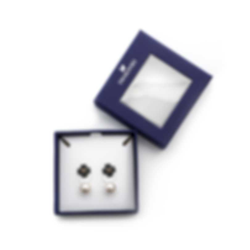 Swarovski Latisha Mixed Metal Crystal Pearl And Black Crystal Earrings 5411137
