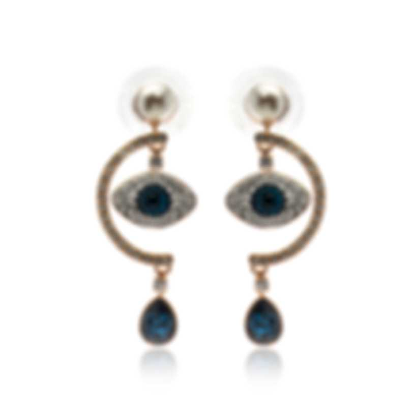 Swarovski Symbol Rose Gold Tone Dark Multi Colored Crystal Earrings 5425860