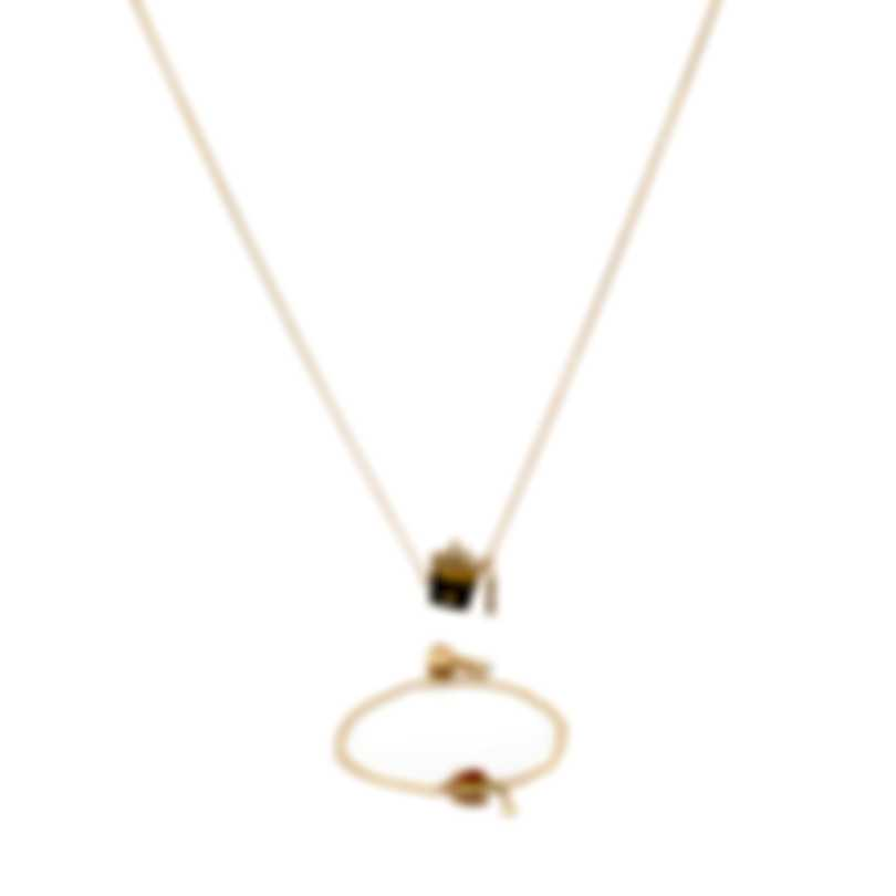 Swarovski Nicest Gold Tone Dark Multi Crystal Necklace And Bracelet Set 5448916