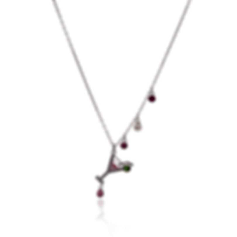 Swarovski No Regrets Rhodium Plated Light Multi Colored Crystal Necklace 5443012