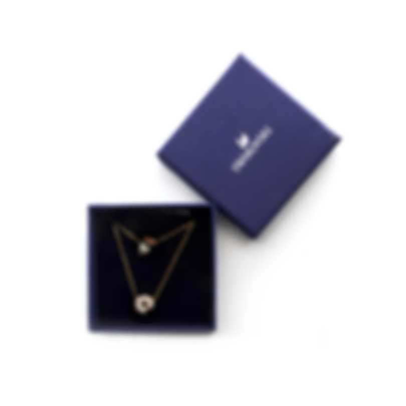 Swarovski Nicest Gold Tone Dark Multi Colored Crystal Necklace Set 5459142