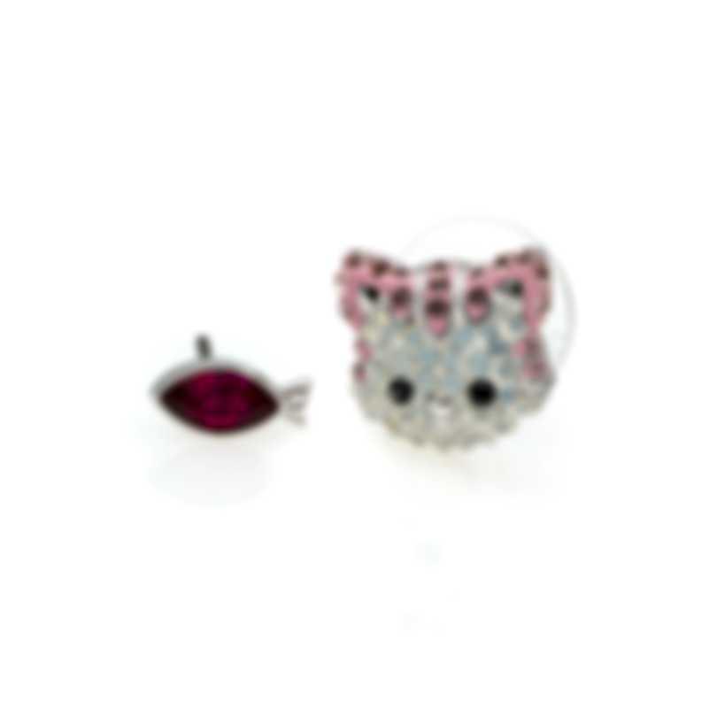 Swarovski Cat Rhodium Plated Light Multi Colored Crystal Earrings 5464339