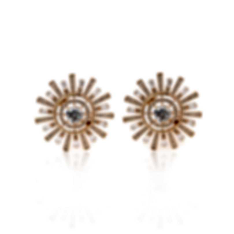 Swarovski Sunshine Rose Gold Tone Czech White Crystal Earrings 5464833
