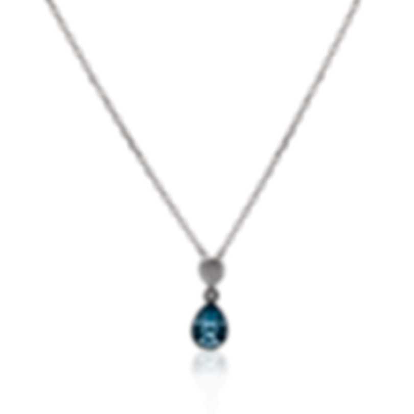 Swarovski Ocean Blue Rhodium Plated Aqua Crystal Necklace 5465292